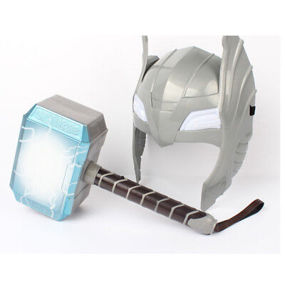 Thor Hammer Mask Cosplay Set With LED Glowing and Sounds Halloween Costume Kids (Thor Kids Hammer)