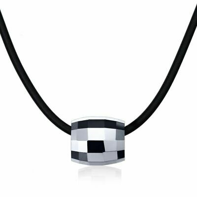 Fashion Chokers Necklaces For Men Tungsten Carbide Pendant Black Rubber Leather Tungsten Carbide Pendant