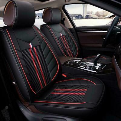 2x Vordere Sitzbezüge Kunstleder Schwarz + Rot PKW Kompatibel mit
