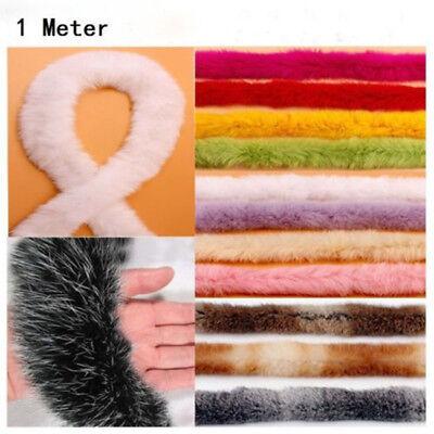 1Meter Kaninchen Pelz Band Bänder Flauschig Fell Borte Nähen Kostüm Handarbeiten