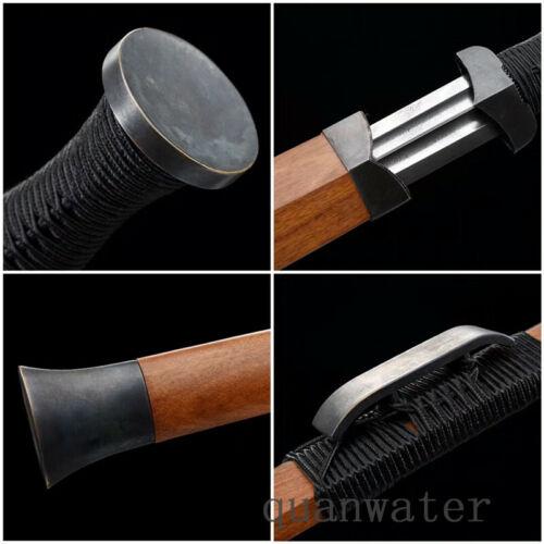DAMASCUS FOLDED STEEL  BLADE HIGH QUALITY CHINESE HAN 汉剑 SWORD ROSE WOOD