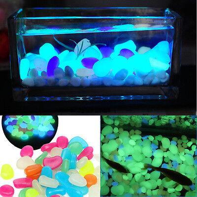100pc Glow In The Dark Pebbles Artificial Stones Luminous Garden Fish Tank Decor