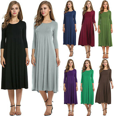 Womens Boho 3/4 Sleeve A Line Casual T Shirt Dress Tunic Flare Midi Long Dress