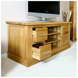 Solid Oak TV Unit | Large Light Oak TV Cabinet Stand with Drawers | Furniture
