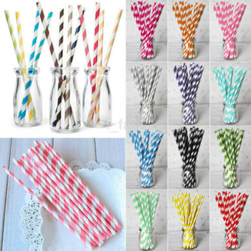 Hot Sale 25pc Striped Paper Straws Birthday Wedding Baby Shower Party US