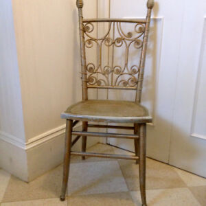 Antique Gilded Wicker Chair From Windsor Chair Mfg, Windsor NS