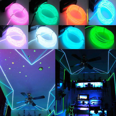 EL Wire String Strip Rope Tube Car Dance Party+Controller Sg (Neon Glow Party)