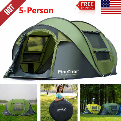 5 Person Outdoor Sports Instant Pop Up Tent Family Camping Hiking Beach Shelter