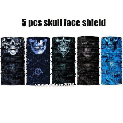 5 pack Skull Face Shield Sun Mask MULTI-USE Balaclava Neck Gaiter Bandana scarf