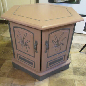 Artistically styled Hexagon Side Table Shabby Chic