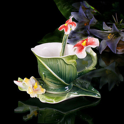 Porcelain Relief Green Canna Coffee Set Tea Set Milk Cup Saucer Spoon Daily Used
