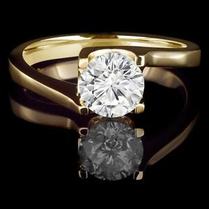 14k Yellow Gold Diamond Engagement Ring 1.40CT Bague de Fiancailles