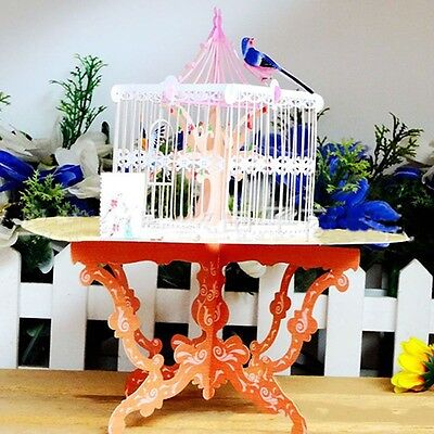 Delicate Handmade Pop Up Bird Cage Greeting Happy Birthday Invitations Card 3D