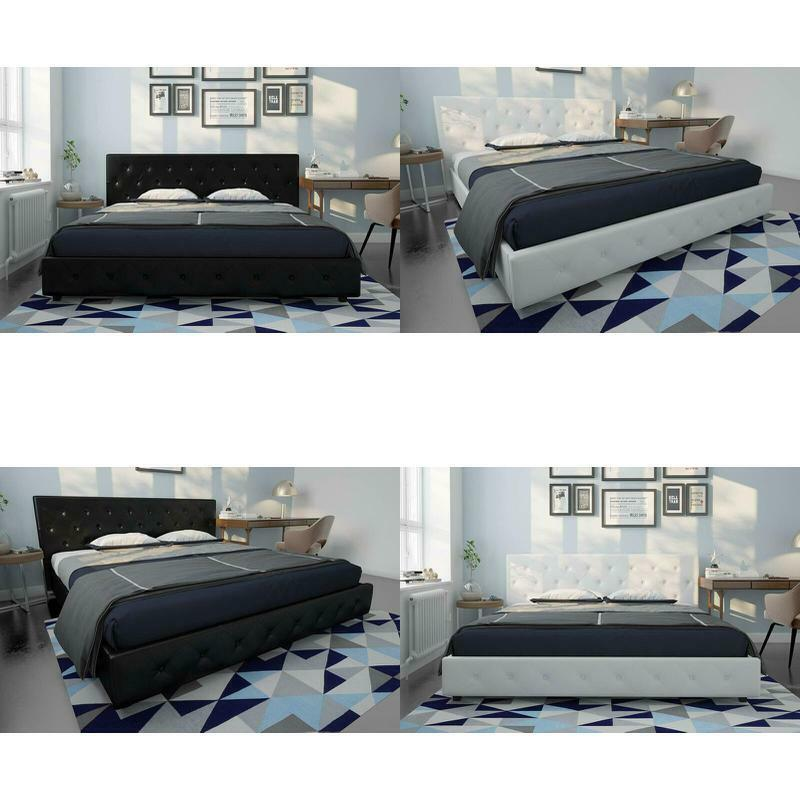 contemporary faux leather luxury bed frame w