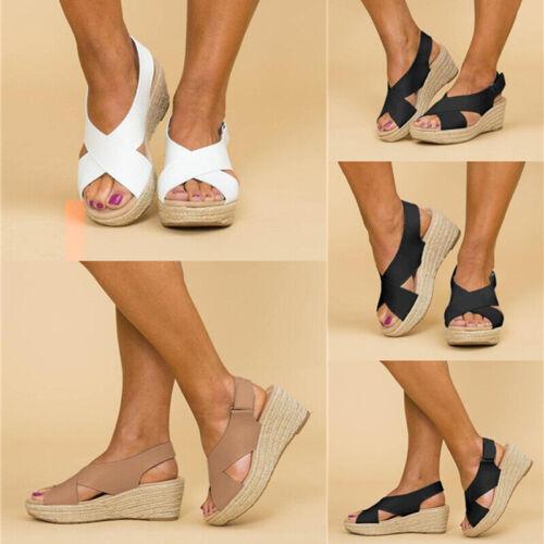 Womens Cross Strap Peep Toe Slingback Sandals Platform Wedge Espadrilles Shoes