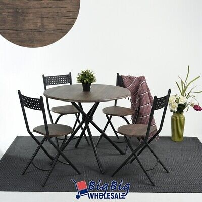 Set of 5 Modern Round Dining Table w/ 4 Folding Chairs Simpl