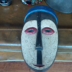 Thick Hand-Crafted Wooden Mask, Made in Ghana