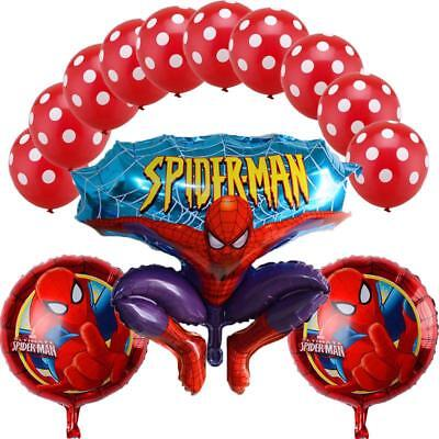 Spiderman Birthday Decorations (13pcs Spiderman Balloons Happy Birthday Number Party Decor Supplies Foil)
