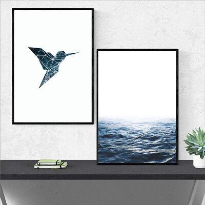 Blue Ocean Geometric Artwork Bird Canvas Painting Sea Waves Wall Print Art Decor