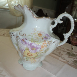 Vintage Semi Porcelain Pitcher Floral Design Sussex