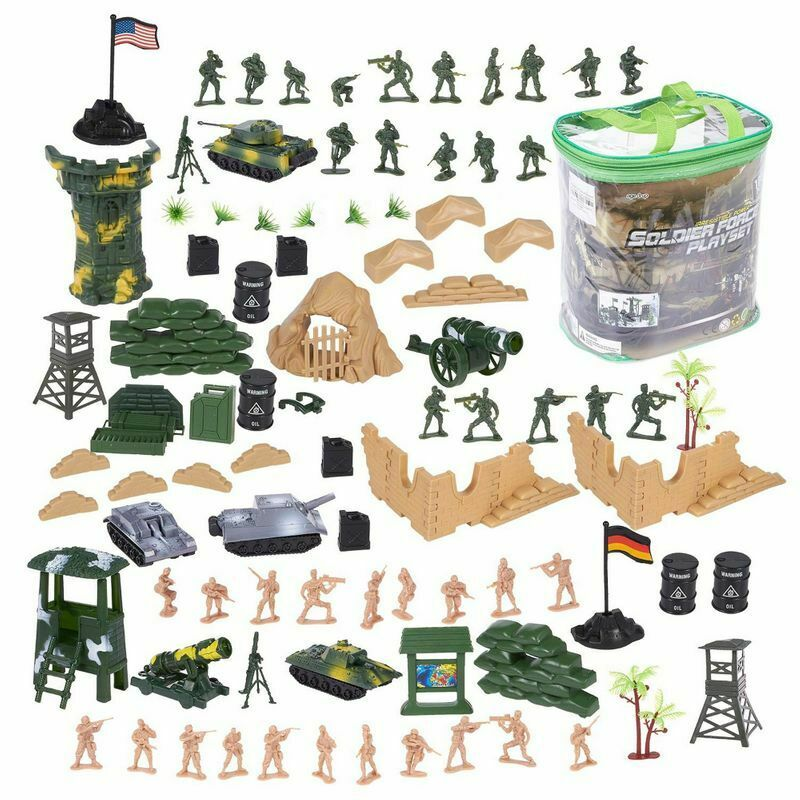 100 Piece Military Figures & Accessories, Toy Army Soldiers Two Flag attlefield