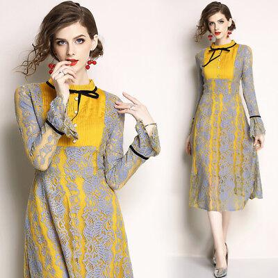 2018 Womens Fashion Temperament Bowknot Lace Long Sleeve Elegant Swing Dress New