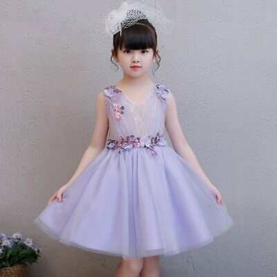 Purple FlowerBall Gown Kids Pageant Dress for Birthday V-neck Toddler Prom Dress - Purple Dresses For Toddlers