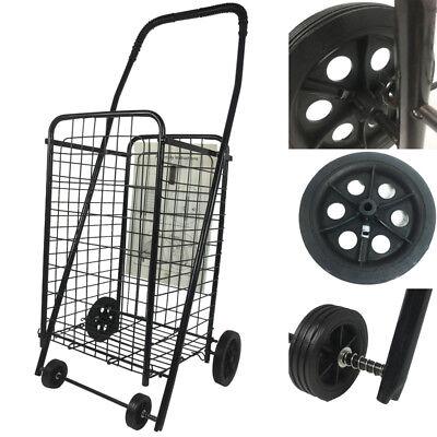 Black Folding Shopping Cart Basket With Wheels Supermarket Trolley