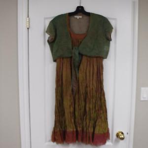 Designer Silk Dress, worn once, size medium/large
