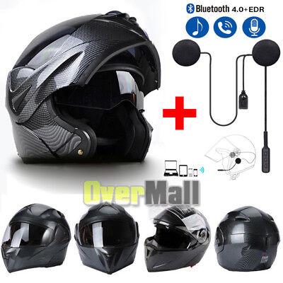 DOT Motorcycle Modular Flip up Full Face Helmet Dual Visor Carbon Fiber+Headset