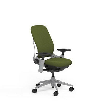 Steelcase Leap Plus Adjustable Chair V2 - Buzz2 Ivy Green Fabric 500lb Platinum