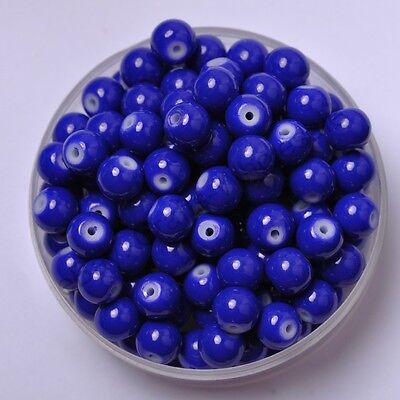 50pcs Dark Blue Quality Czech GLASS Round Loose Spacer BEADS Choose 6MM
