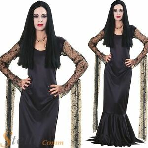 Ladies-Licensed-Morticia-Addams-Family-Black-Dress-Halloween-Fancy-Dress-Costume