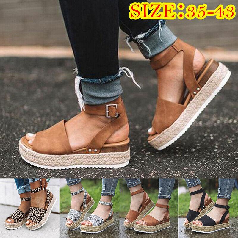 US Women's Ankle Strap Flatform Wedges Shoes Espadrilles Summer Platform Sandals