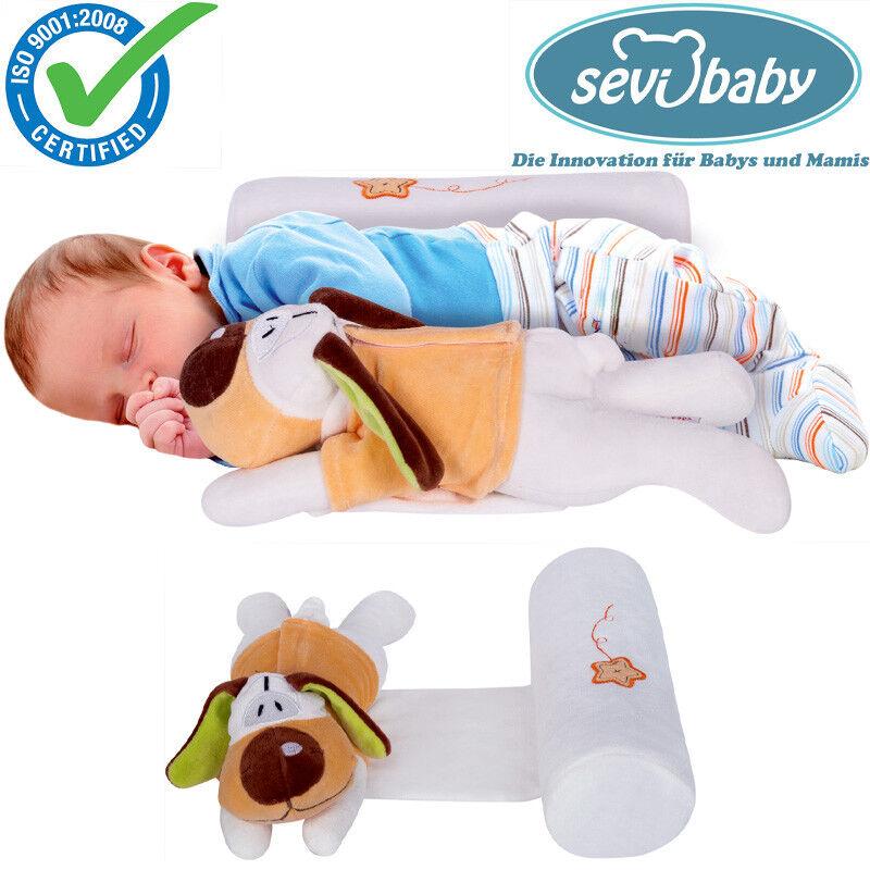 Sevibaby Baby Kopfkissen Seitenlagerungskissen mit Kuscheltier Kissen 9366 HUND