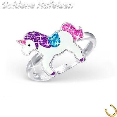 Glitzer Einhorn Kinder Ring 925 Echt Silber Kinderschmuck Pferd Geschenkidee *GH