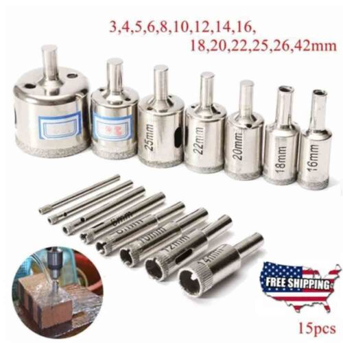 Купить A pack of 15pcs- New Diamond drill bit hole saw kit for drilling glass marble