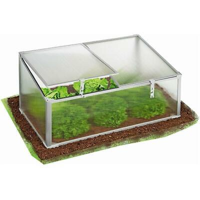 Small Greenhouse Cold Frame Twin Lid Cover Garden Grow Shelter Aluminium Frame