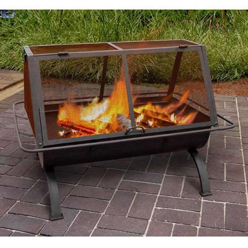 Outdoor Fire Pit Wood Burning Rustic Heater Patio Black