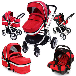 Guzzie+Guss Deluxe Stroller 3in1 with bassinet+car seat+adapter.