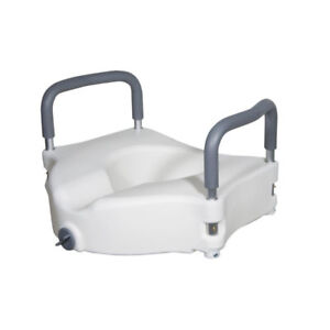 Elevated Toilet Seat with Handles in White for Standard Toilets