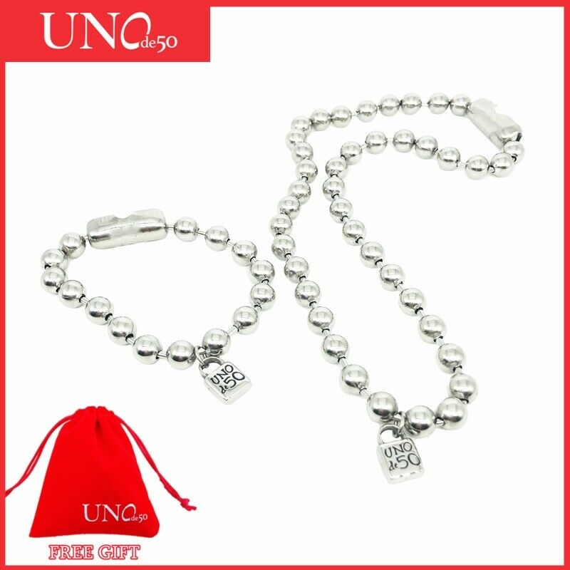Brand UNO de 50 Jewelry Set Stainless Steel Unisex Beaded Necklace Bracelet Gift