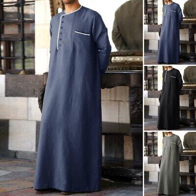 Men's Jubba Dishdasha Thawb Thoub Muslim Islamic Abaya Daffah Kaftan Long Robe