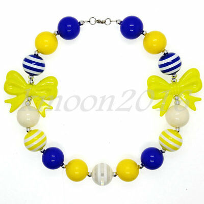 Yellow Bow & blue Chunky Beads Bubblegum Necklace for Kids Gift Gumball jewelry (Bubblegum Necklace Beads)