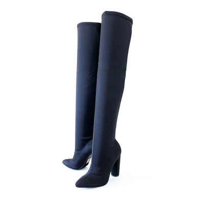 Trendsetter Sexy Lycra Stretch Over Knee High Boots Round Heel Pointy Toe  Black - Pointy Toe Knee High Boots