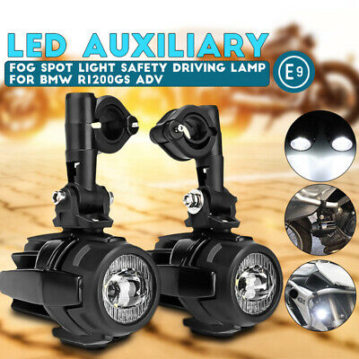 Pair LED Auxiliary Spot Fog Light Driving Lamp Motorcycle For BMW F800GS R1200GS