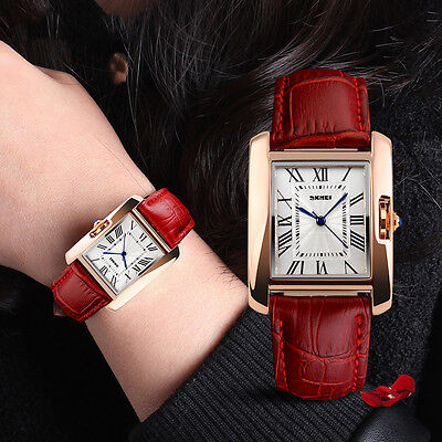 Classic Ladys Women Roman Numerals Leather Analog Quartz Wrist Watch
