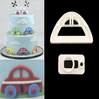 2Pcs Car Icing Cutter Fondant Mould Cake Decorating Cookies Mold Sugarcraft DIY
