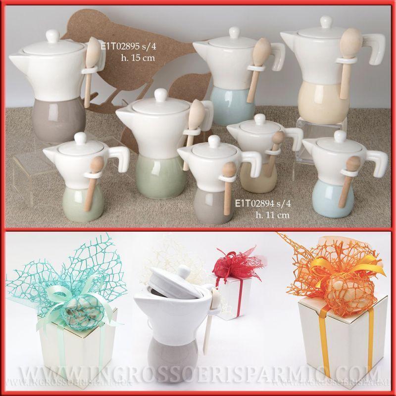 Bomboniere matrimonio zuccheriera a forma di MOKA in ceramica comunione cresima