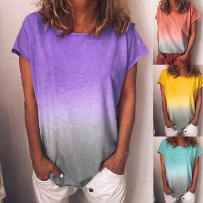 Womens Gradient T-Shirt Tops Summer Short Sleeve Casual Loos